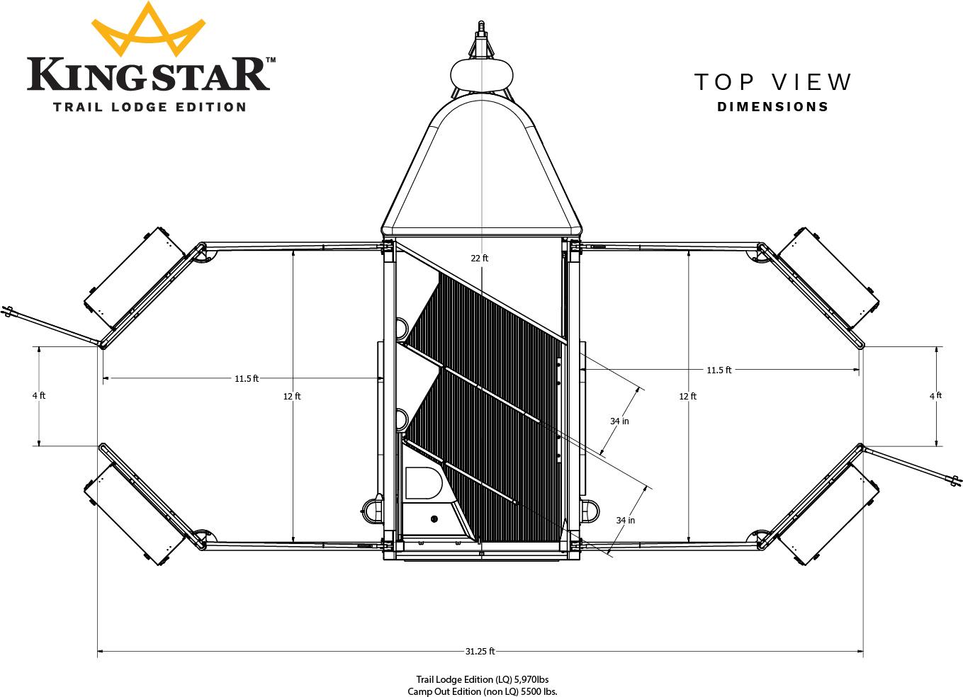 KingStar horse trailer top view dimensions